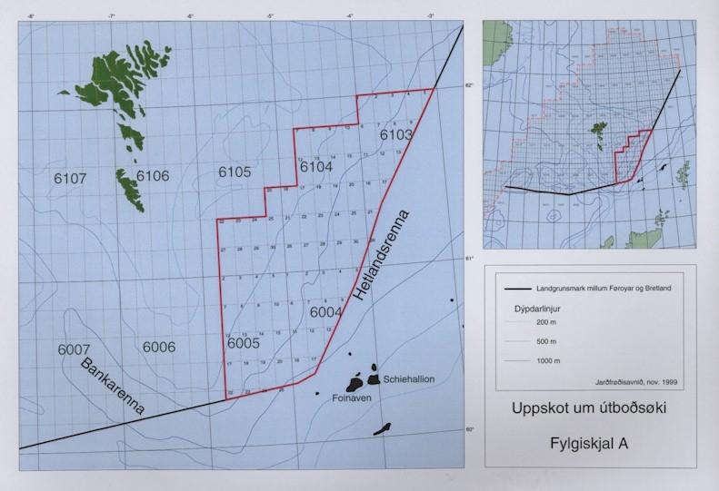 Fylgiskjal A, kort yvir útboðsøkið